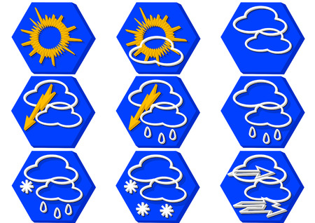 """weather icon"": weather icon in flat color isolated on white"