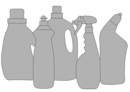 cleaning products: cleaning products. abstract silhouette of bottles of detergent