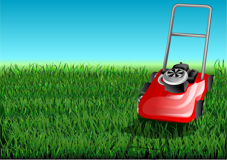 mowing the grass: grass and mow. grass cutter cuts the green lawn