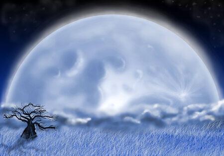 fool moon: tree in the night field and moon Stock Photo