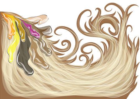 haircare: long hair and various hair dye Illustration