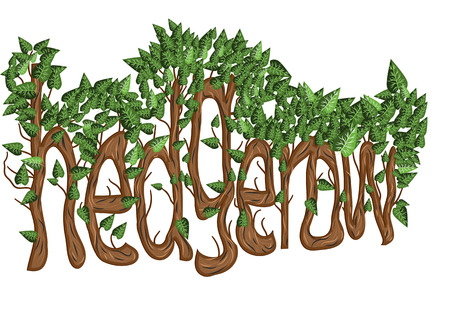 hedgerow letters as trees with leaves
