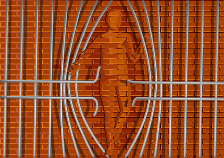 liberate: jail bars. silhouette of abstract brick man and metal bars