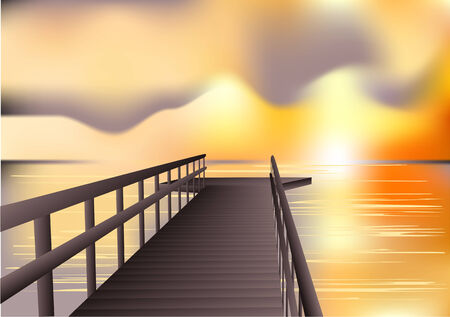 jetty: jetty sunrise. abstract vector background. 10 EPS Illustration