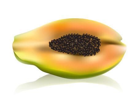 cut up: papaya. cut up papaya fruit on white background
