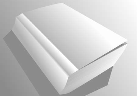 paperback: paperback book. white book on gray background with shadow