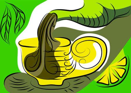 creamer: pouring tea. abstract tea cup with a lemon