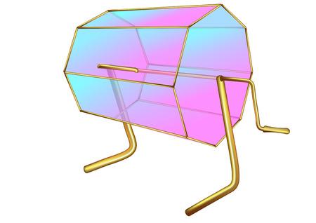 Tombola. Box mit Griff isoliert auf weißem Hintergrund
