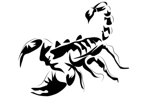 lethal: scorpion. outline animal isolated on white background