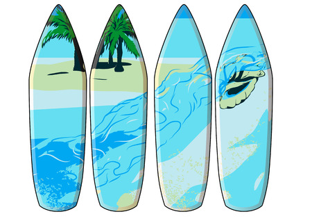surf board: tabla de surf. juego de 4 tablas de surf aislado en blanco Vectores