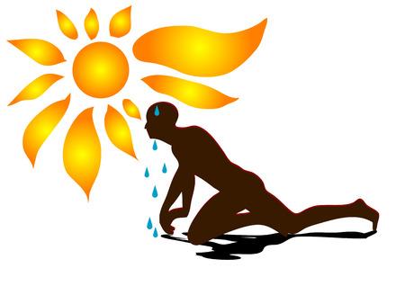 sweaty: sweating. man under sun isolated on white background