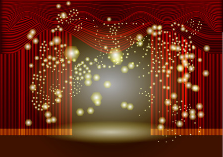theatre stage red curtain with abstract light