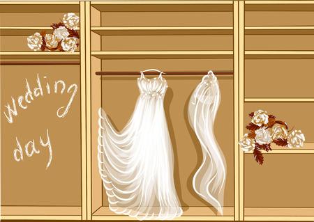 Hochzeitstag. Hochzeitskleid in glothes Kleiderschrank