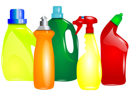 cleaning products: multicolor cleaning products. abstract silhouette of bottles of detergent Illustration