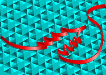 weihnachtsschleife: Weihnachten Band. rotes Band als Weihnachtsbaum auf abstrakte gr�nen Hintergrund Illustration