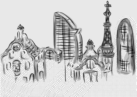 barcelona. abstrtact skyline of city buildings Vector