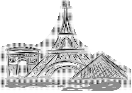 Paris. abstract famouse building isolated on white Vector