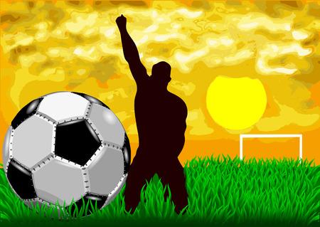 voetbal silhouet: voetbal. silhouet van de sporter op voetbalgebied Stock Illustratie