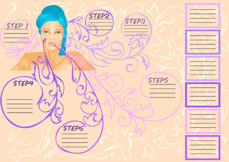 infogaphics: beauty infographic. young woman and abstract decoration