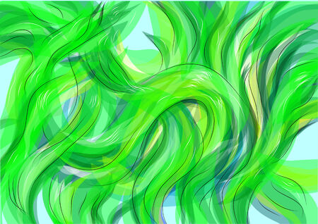 alga: seaweed. abstract background with waves as seaweed Illustration