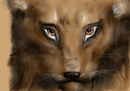 feline: lion cub cute. portrait of young feline