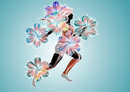 excercise: spring excercise.silhouette of running woman and flower