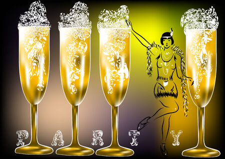 twenties: champagne party twenties. silhouette of woman and glasses Illustration