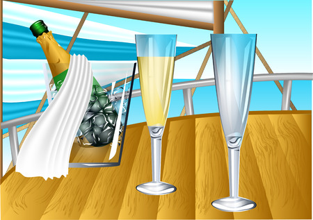 sail boat: champagne on sail boat. champagne in an ice bucket and two glasses