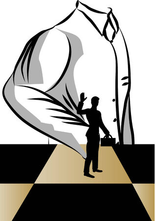 silhouete: change job. silhouete of man on chessboard Illustration