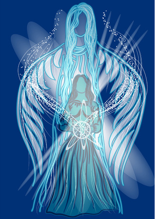 channelling. two silhouette in energy light on blue background