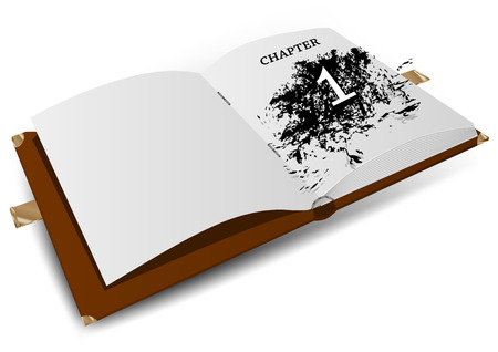 chapter: chapter one. opened bok isolated on white background