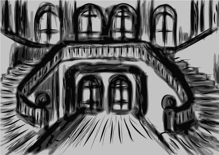 castle interior: chateaux interior. abstract interior in black and white color Illustration
