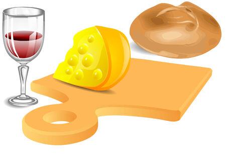 pane e vino: Formaggio, pane, vino isolato su uno sfondo bianco Vettoriali