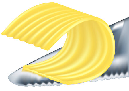 cream cheese: cheese or butter on the knife isolated on a white background Illustration