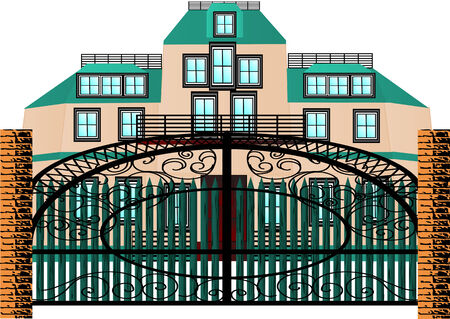 brick mansion house isolated on a white background Illustration