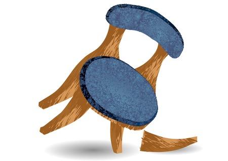 gebroken stoelpoot. stoel op een witte achtergrond Vector Illustratie