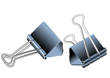 paper fastener: bulldog clips isolated on a white background