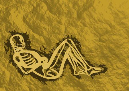 neolithic: enterramiento neol�tico. resumen de la figura de un hombre en la roca Vectores