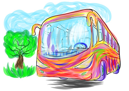 tour bus: bus illustration. abstract multicolor bus and blue sky