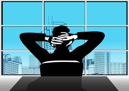 relajado: Empresario y ventana. Hombre de negocios tranquilo sentado en la oficina