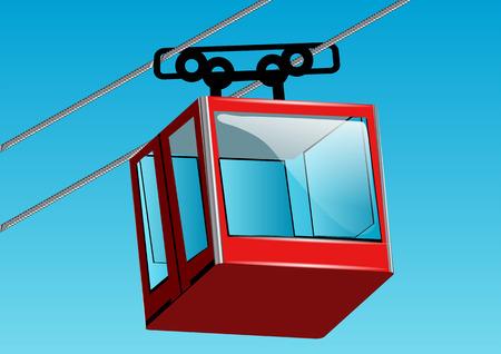 suspender: cable lift car against a blue sky Illustration