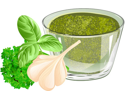 basil pesto isolated on a white background Illustration