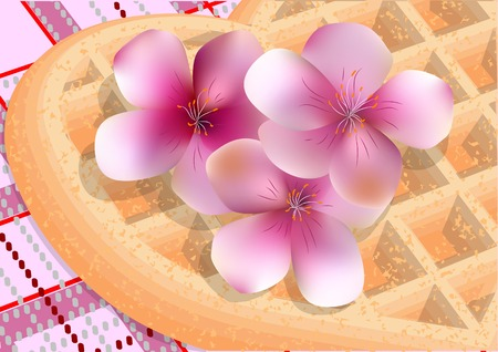 picnic tablecloth: cherry blossom and picnic. waffles and flowers on a checkered tablecloth Illustration