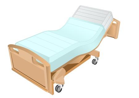 白い背景で隔離の病院のベッド