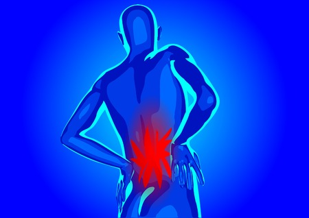 脊椎: 腰の痛み。抽象的な男性のシルエット