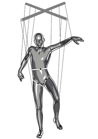 marionette puppeteer isolated on a white background Illustration