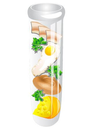 food science: test tube food isolated on a white background Illustration