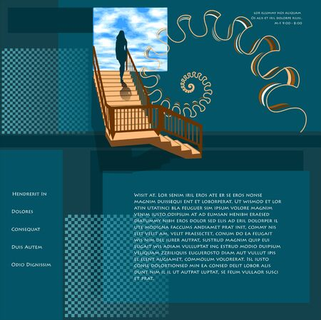 sucess: website template with sucess concept.abstract silhouette on the stair Illustration