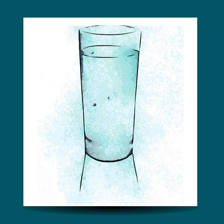 cold drink: watercolor glass. glass of cold drink on white background Illustration