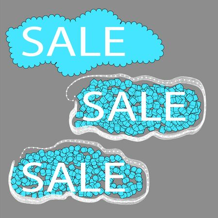 cloude: sale. set of three cloude tag on a gray background Illustration